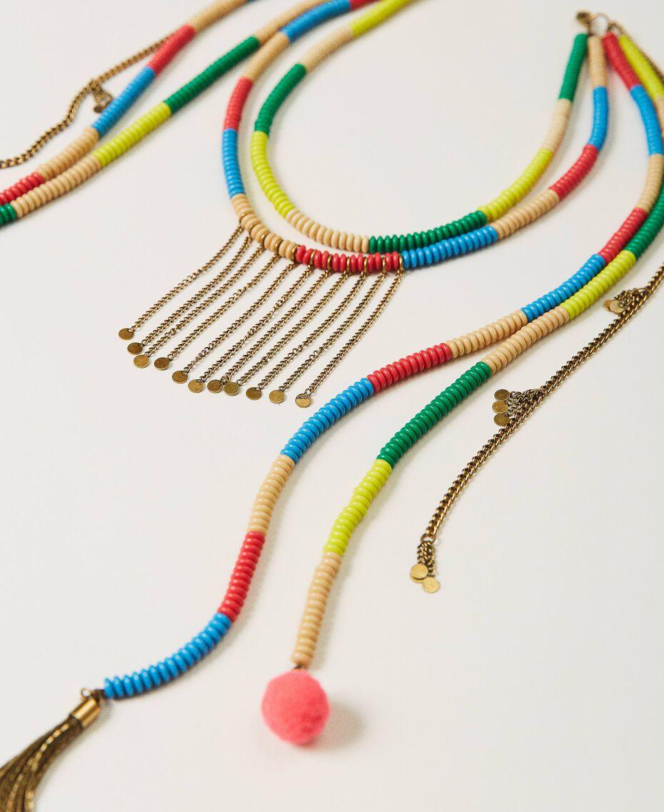 Collier avec perles et franges Multicolore Jaune «Led» / Rose «Néon» Femme 211TO501F-03