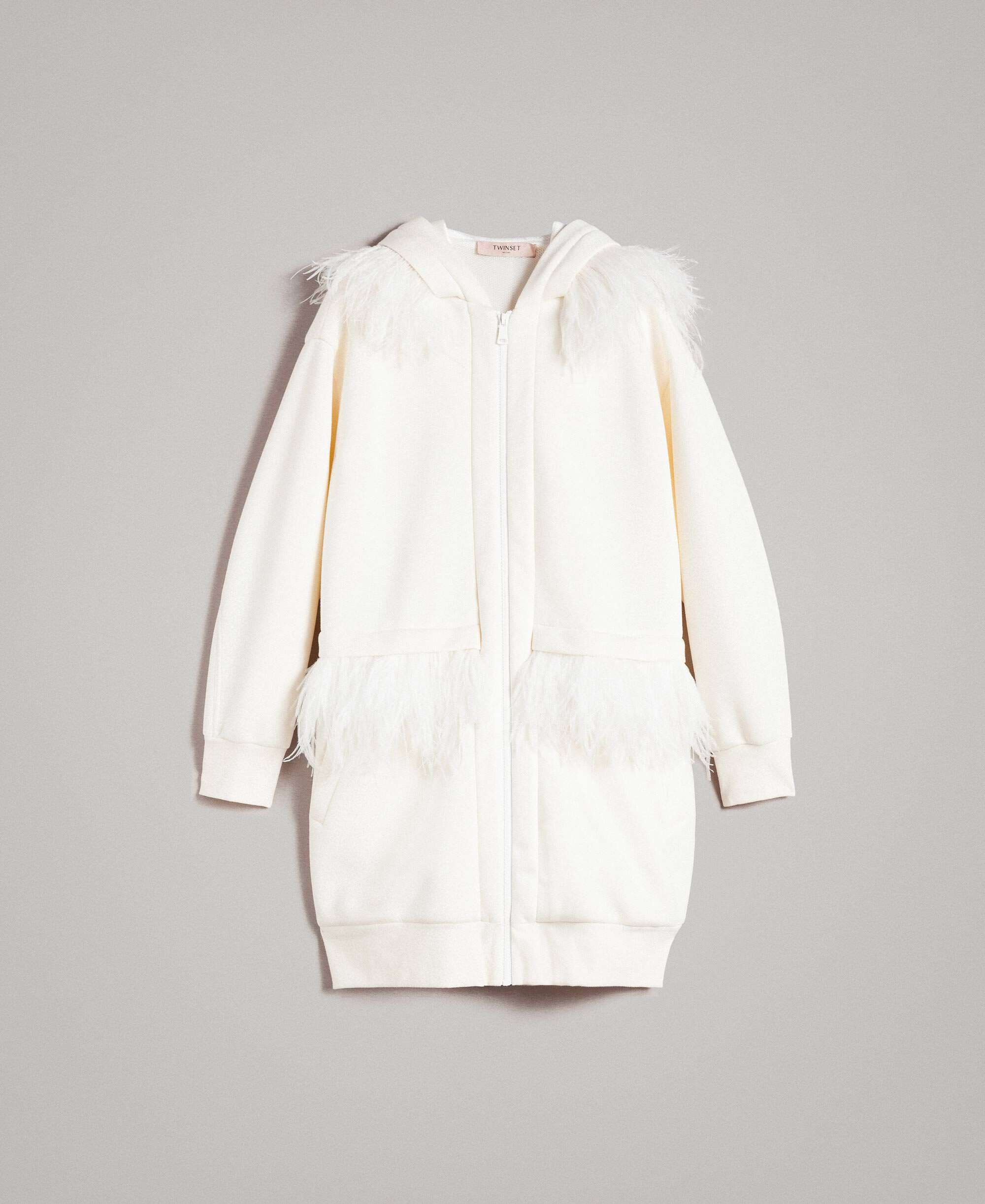 ff063b404bd Long scuba bomber with feathers Woman, White   TWINSET Milano
