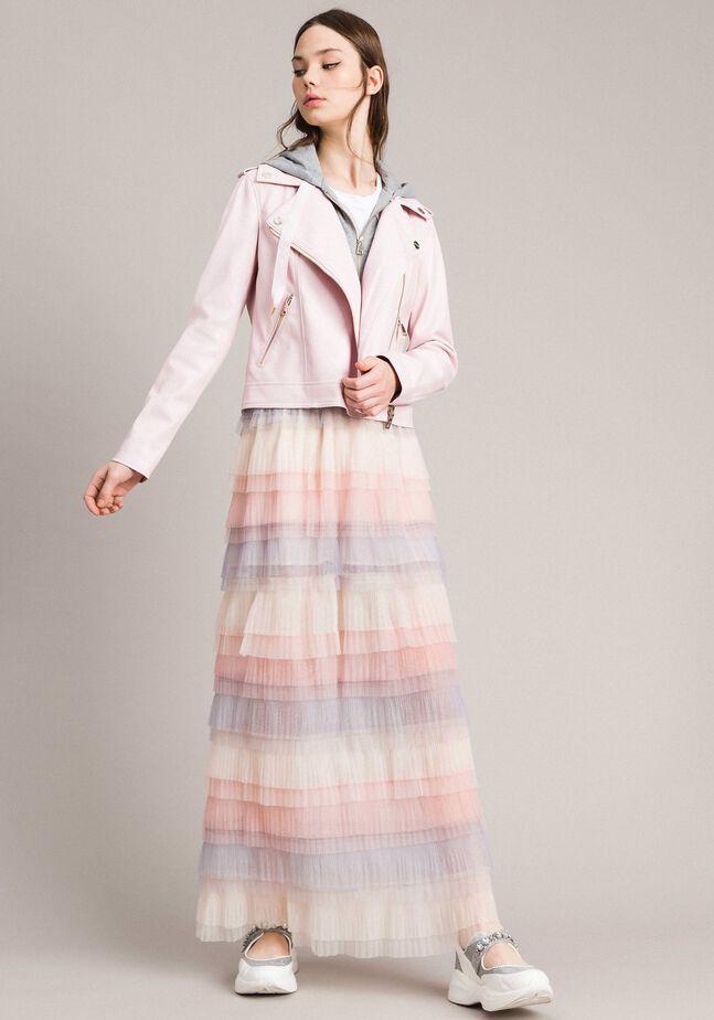 Long jupe plissée à volants