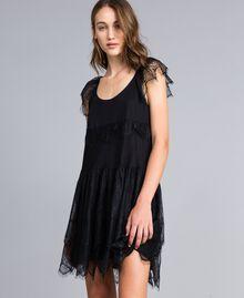 Mesh, lace and plumetis dress Black / Black Woman JA82HA-01