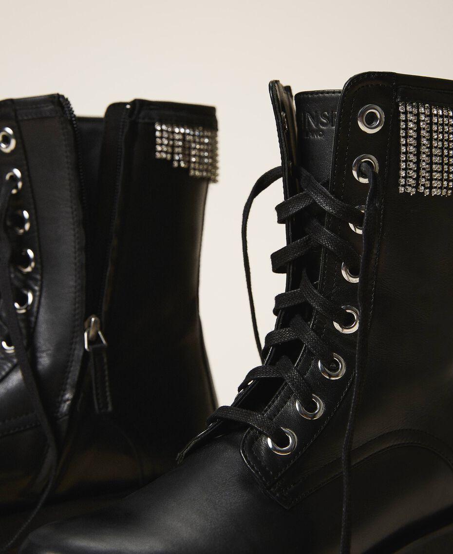 Кожаные ботинки-амфибии с бахромой Черный женщина 202TCT100-02