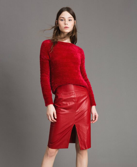Faux leather mid-length skirt
