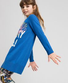 "Knitted dress with inlaid writing and embroidery ""Mediterranean"" Blue Child 192GJ3050-02"