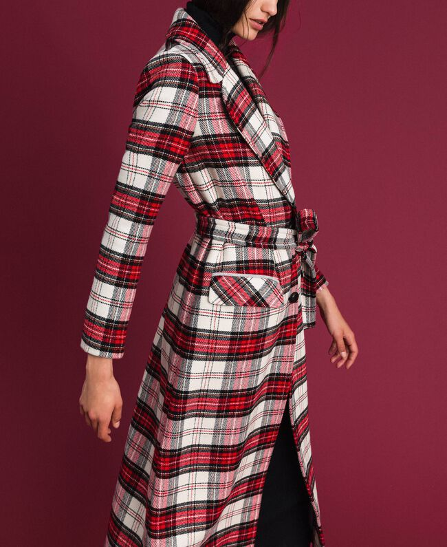 Manteau long en laine à carreaux Jacquard Grand Tartan Femme 192TP2611-05