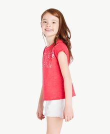 T-Shirt mit Print Zweifarbig Granatapfelrot / Blütenknospenrosa Kind GS821A-03
