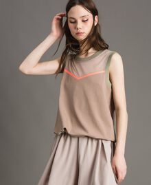 "Top with mesh insert ""Grey Dust"" Woman 191LL23UU-01"
