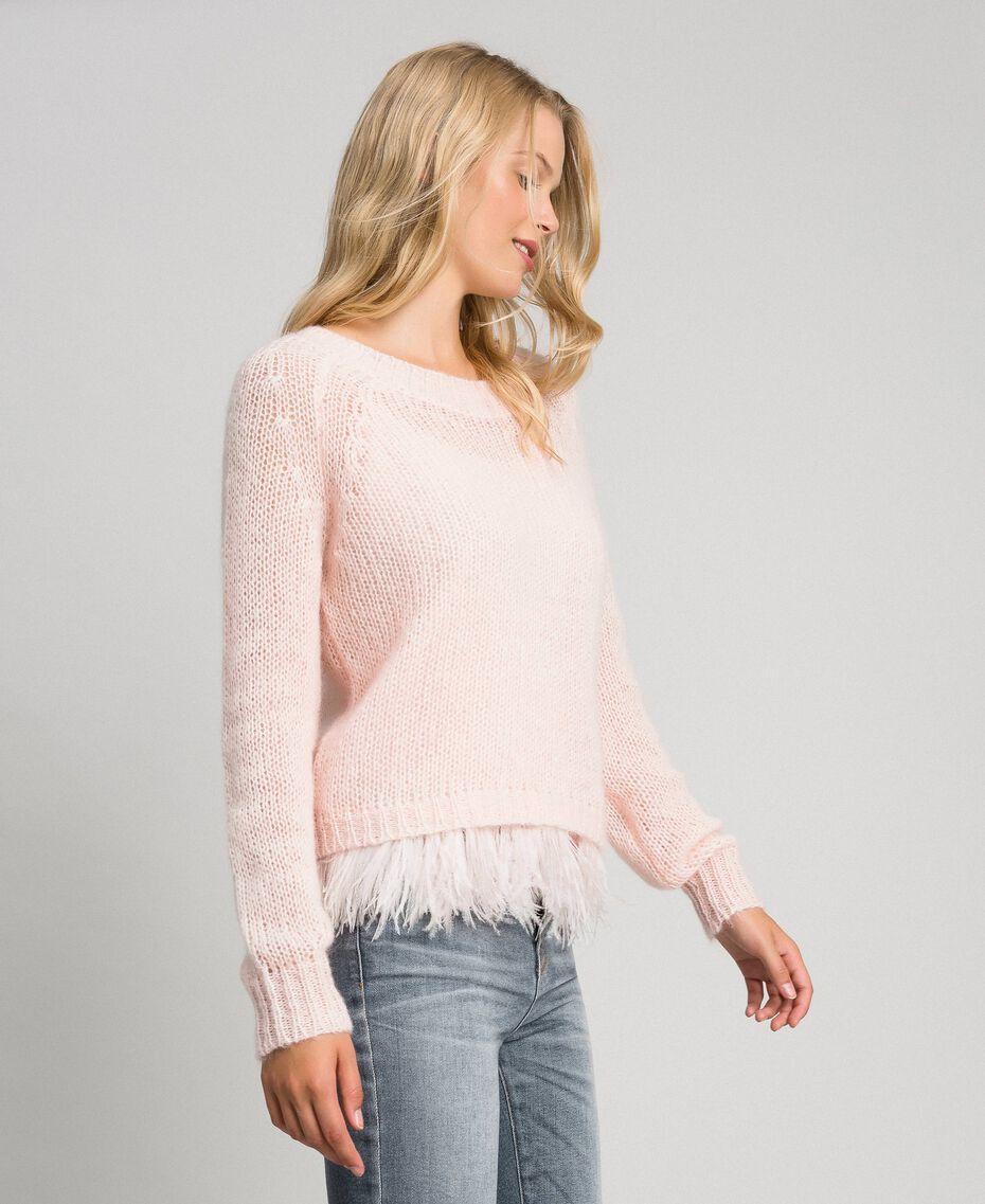Pull en mohair et top avec plumes Rose «Opale» Femme 192TT3275-02