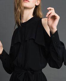 Robe en crêpe de Chine avec volant Noir Femme 192TT2436-05