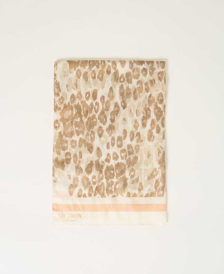 "Animal print stole ""Dune"" Beige Animal Print Woman 202MA432D-01"