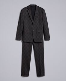Printed blazer and trousers set Grey Melange Check Print Man UA82BN-0S