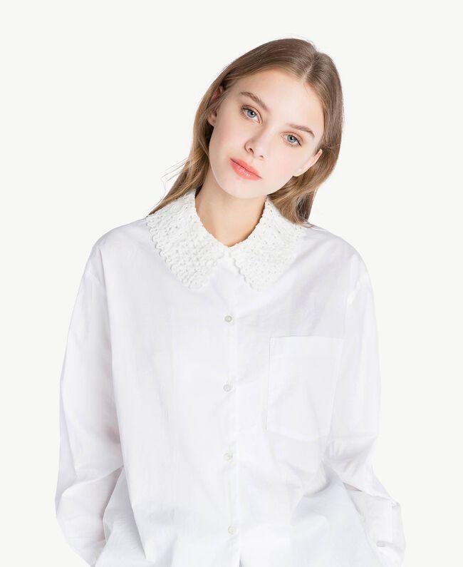 Bluse mit Häkelverarbeitung Weiß Frau PS826Q-04