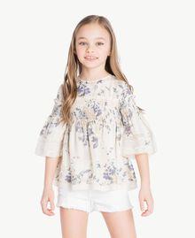 Bluse mit Blumenprint Blumenprint / Helles Rauchgrau Kind GS82E3-02