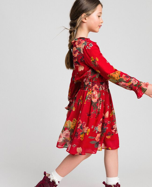 Kleid aus Georgette mit Blumenprint Feldblumenprint Granatapfel Kind 192GJ2592-01