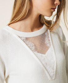 Robe en laine mélangée avec fond de robe Blanc Neige Femme 202TT3132-04