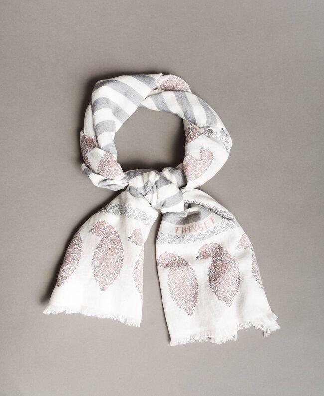 Keffieh en coton et lin Jacquard Noir / Blanc Neige Femme 191TO5301-01