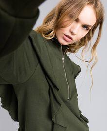 Sweatshirt aus Baumwolle mit Rüschen Waldgrün Frau TA82ZC-04