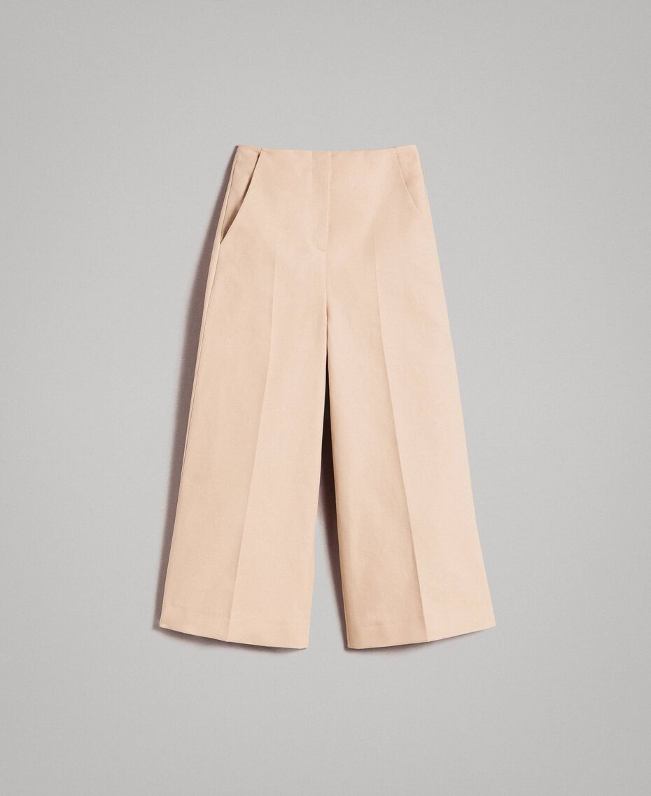 Cropped technical cotton trousers Nougat Beige Woman 191TP2184-0S