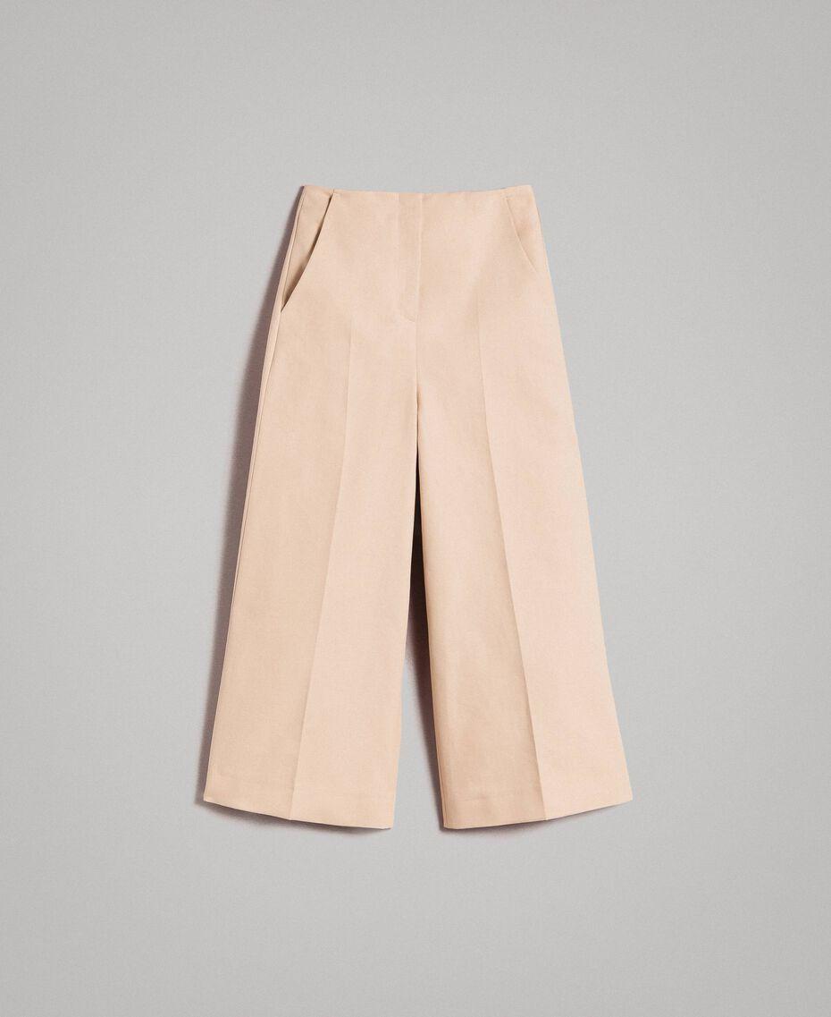 Pantaloni cropped in cotone tecnico Beige Nougat Donna 191TP2184-0S