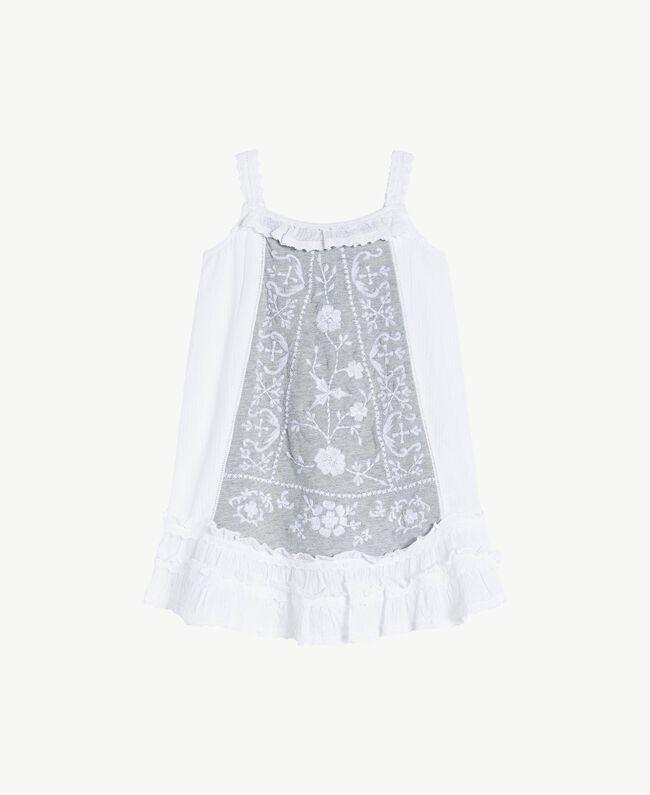 Kleid mit Stickerei Streifenjacquard Papyrusweiß / Meliertes Hellgrau Kind FS82LB-01