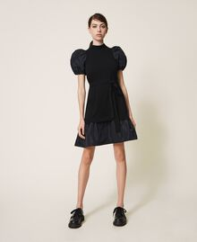 Taffeta and wool blend dress Black Woman 202TP3251-03