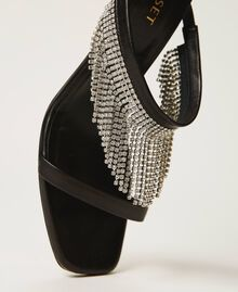 Leather sandals with rhinestone fringes Black Woman 211TCT030-03