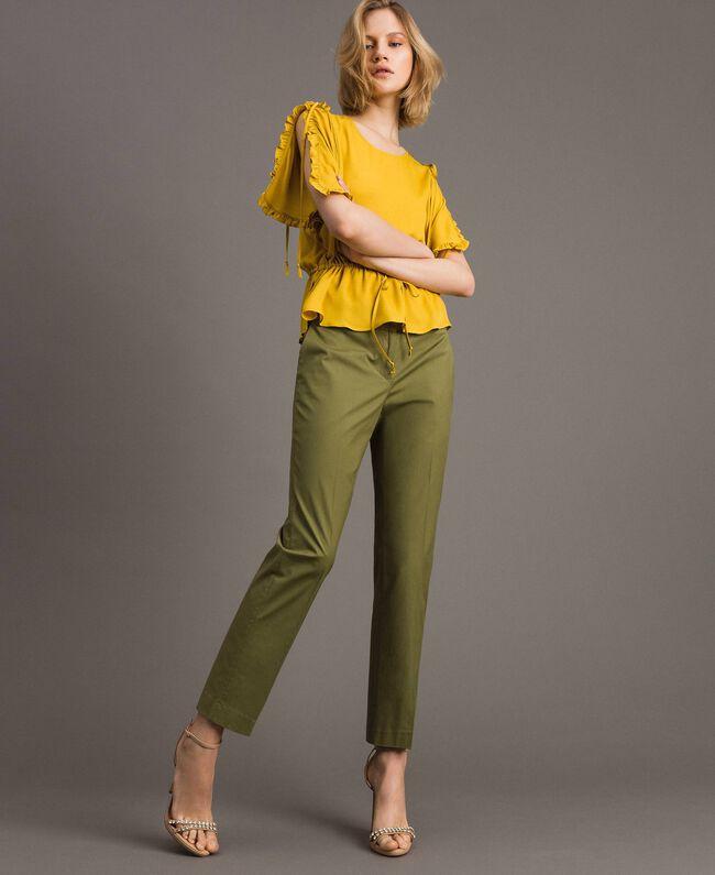 "Poplin drainpipe trousers ""Olive"" Green Woman 191TT2231-01"