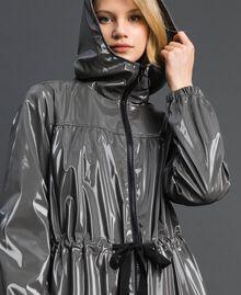 Vinyl effect parka coat with drawstring Lead Grey Woman 192LI2JCC-02
