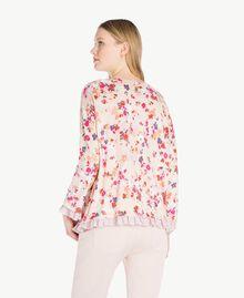 Pullover mit Print Multicolor-Blumen Quarzrosa Frau JS83NP-03