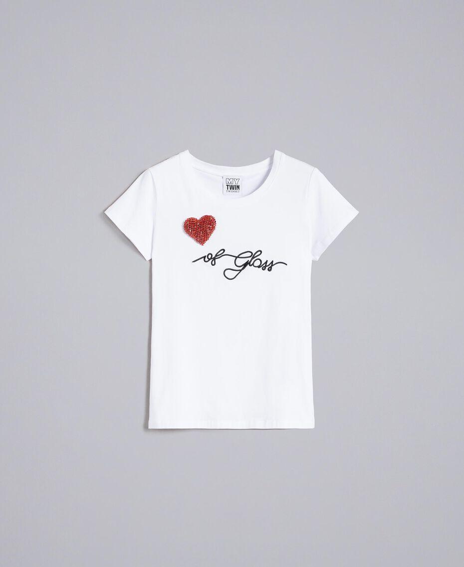 "Jersey t-shirt with rhinestone heart ""Ice"" White Woman JA82MQ-0S"