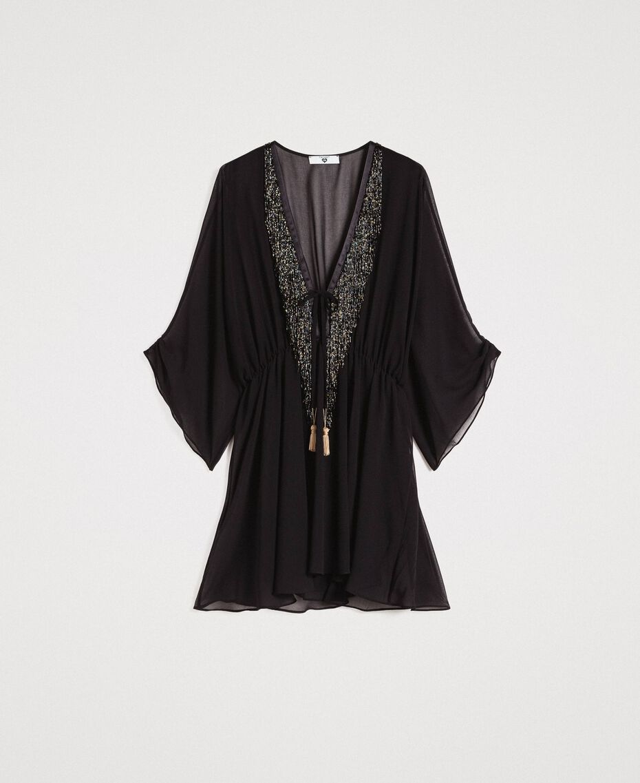 Chiffon kaftan with fringes Black Woman 191LM2BFF-0S