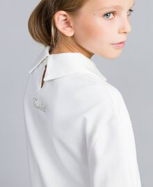 Maxi Milan stitch and georgette sweatshirt Off White Child GA82FU-04