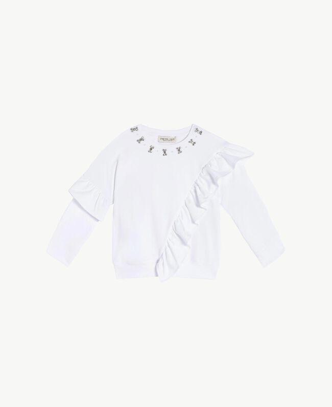"Maxi sweatshirt with rhinestones ""Papers"" White Child FS823B-01"