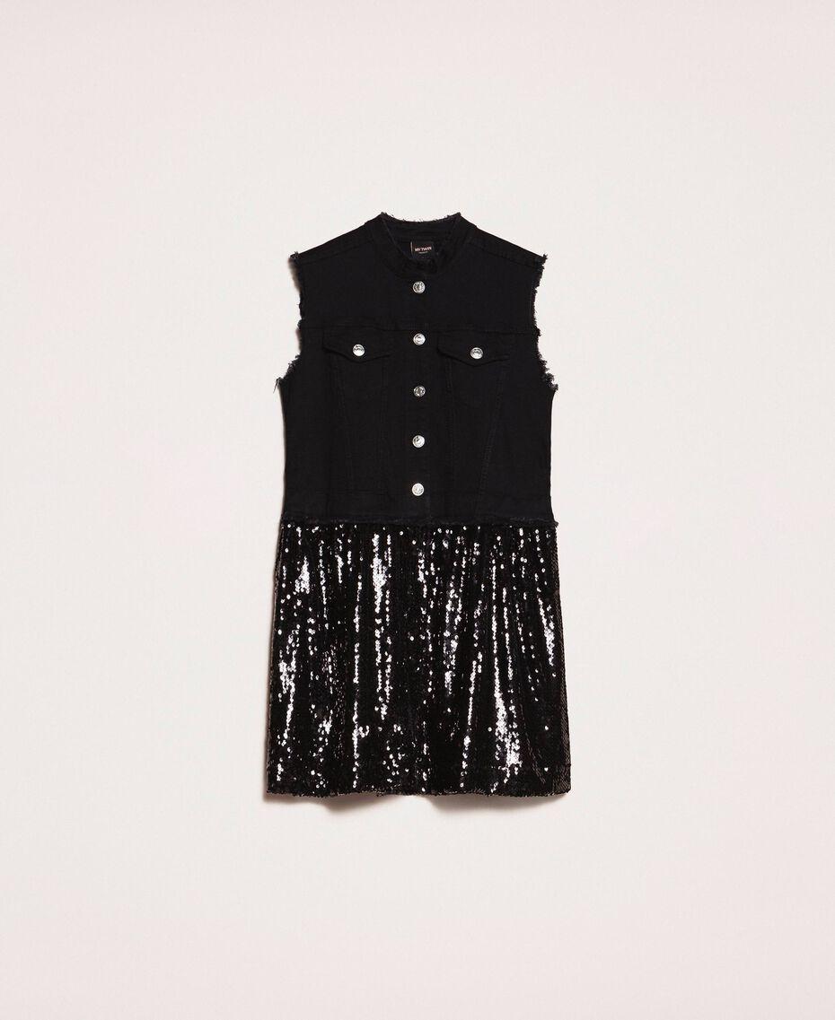 Full sequin shirt dress Black Denim Woman 201MP2260-0S