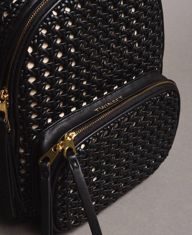 Rucksack aus geflochtenem Kunstleder Schwarz Frau 191TO8010-03