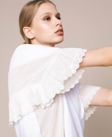 T-shirt incrusté de broderie anglaise Blanc Femme 201TP2480-01