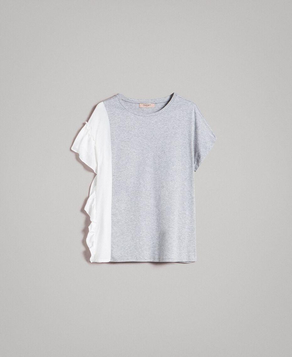 T-Shirt aus Seidenmischung mit Rüschen Grau Melange Frau 191TP2262-0S