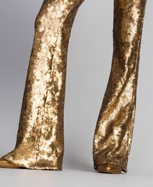 Sequined trousers Gold Yellow Woman QA8TEF-06