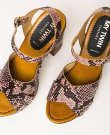 Animal print faux leather clog sandals Wild Rose Python Print Woman 201MCT01C-03
