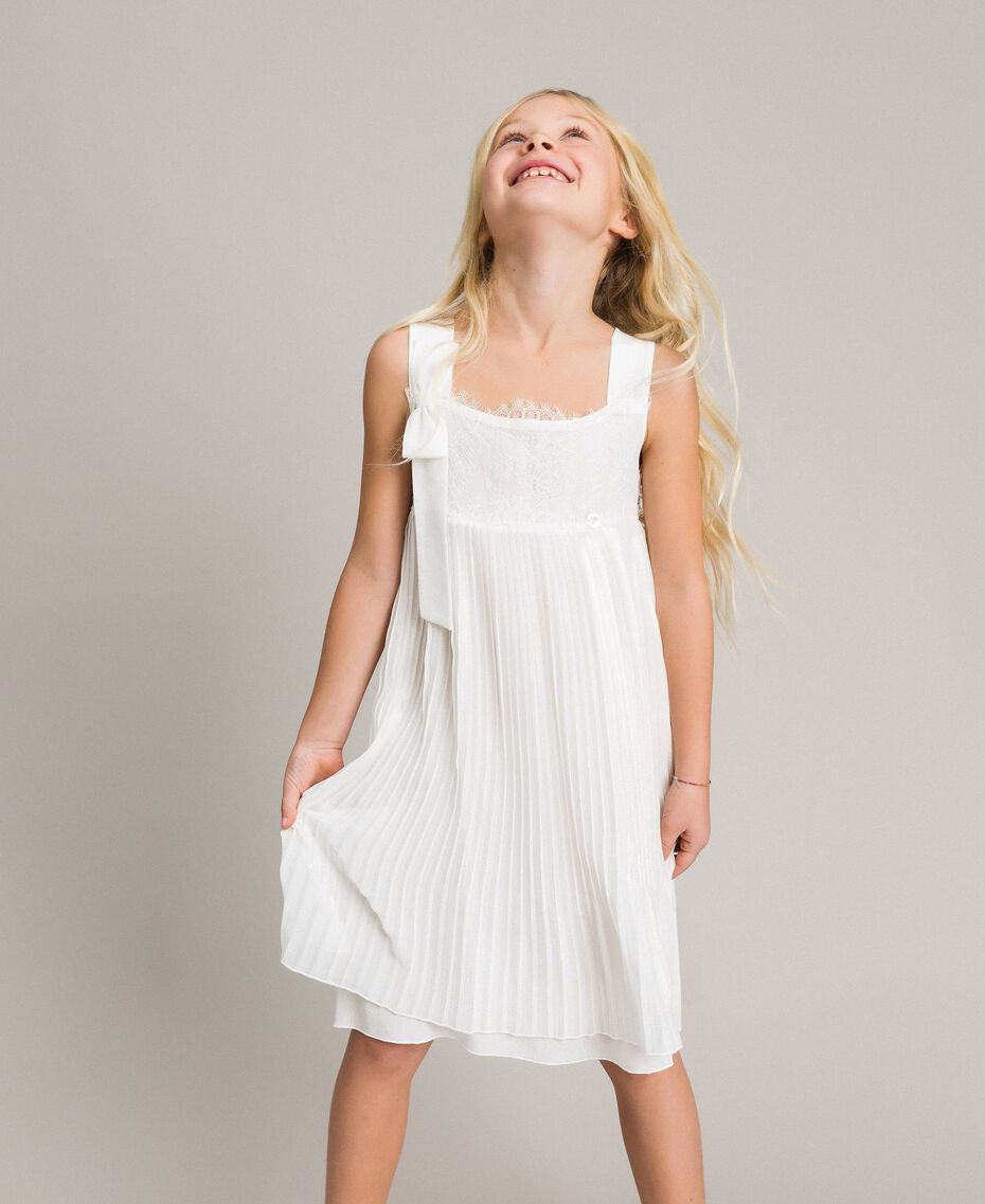 Pleated georgette and lace dress Off White Child 191GJ2QA2-02