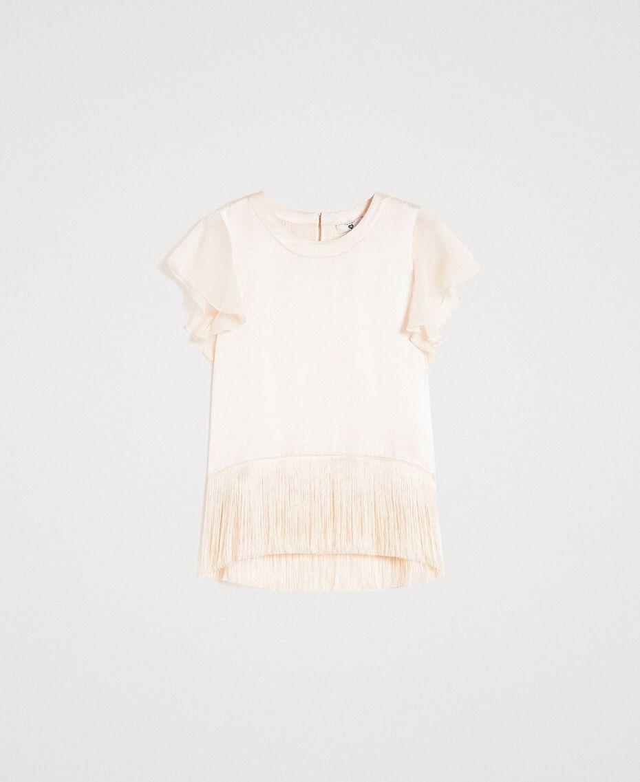 """Satin-T-Shirt mit Fransen """"Milkway"""" Beige Frau 191LM2BBB-0S"""