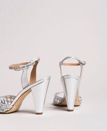 Geflochtene laminierte Leder-Sandalen Silber / Nickel Frau 191TCT01J-03
