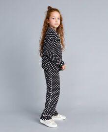 Pyjama en viscose à pois Imprimé Pois Noir / Blanc Cassé Enfant GA828A-02