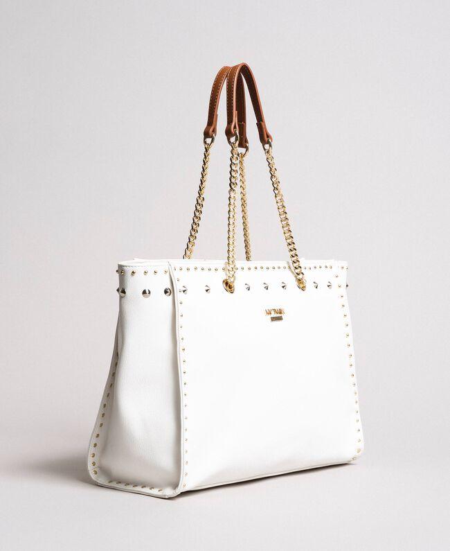 Shopper aus Lederimitat mit Nieten White Sahne Frau 191MA7143-01