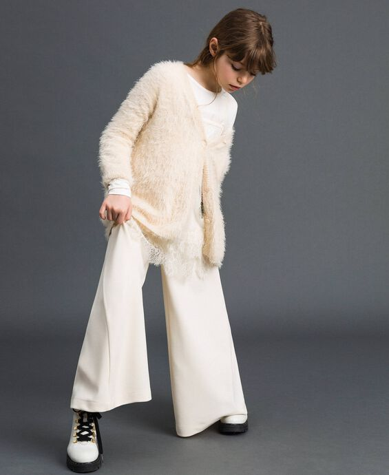 Fur effect yarn maxi cardigan