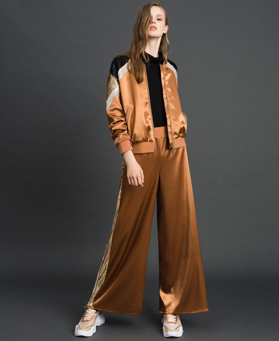 """Satin palazzo trousers with sequins """"Camel Skin"""" Beige Woman 192LI2RBB-02"""