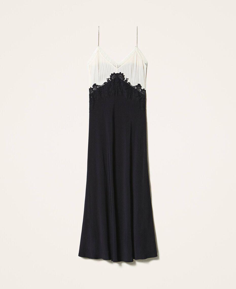 Long lace dress Two-tone Cream White / Black Woman 202TP2121-0S