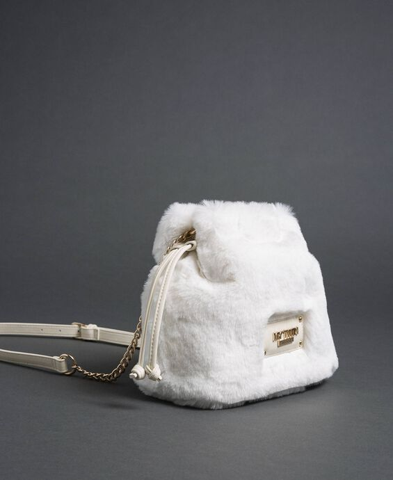 Faux fur bucket bag with drawstring