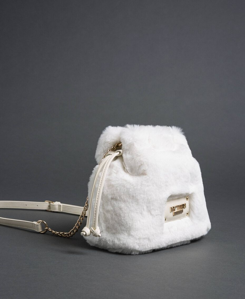Faux fur bucket bag with drawstring Vanilla White Woman 192MO8032-01
