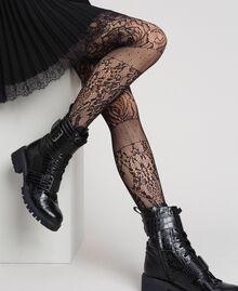 Strumpfhose aus einem Mix aus Spitze und Netzmaschen Schwarz Frau 192TA4329-0S