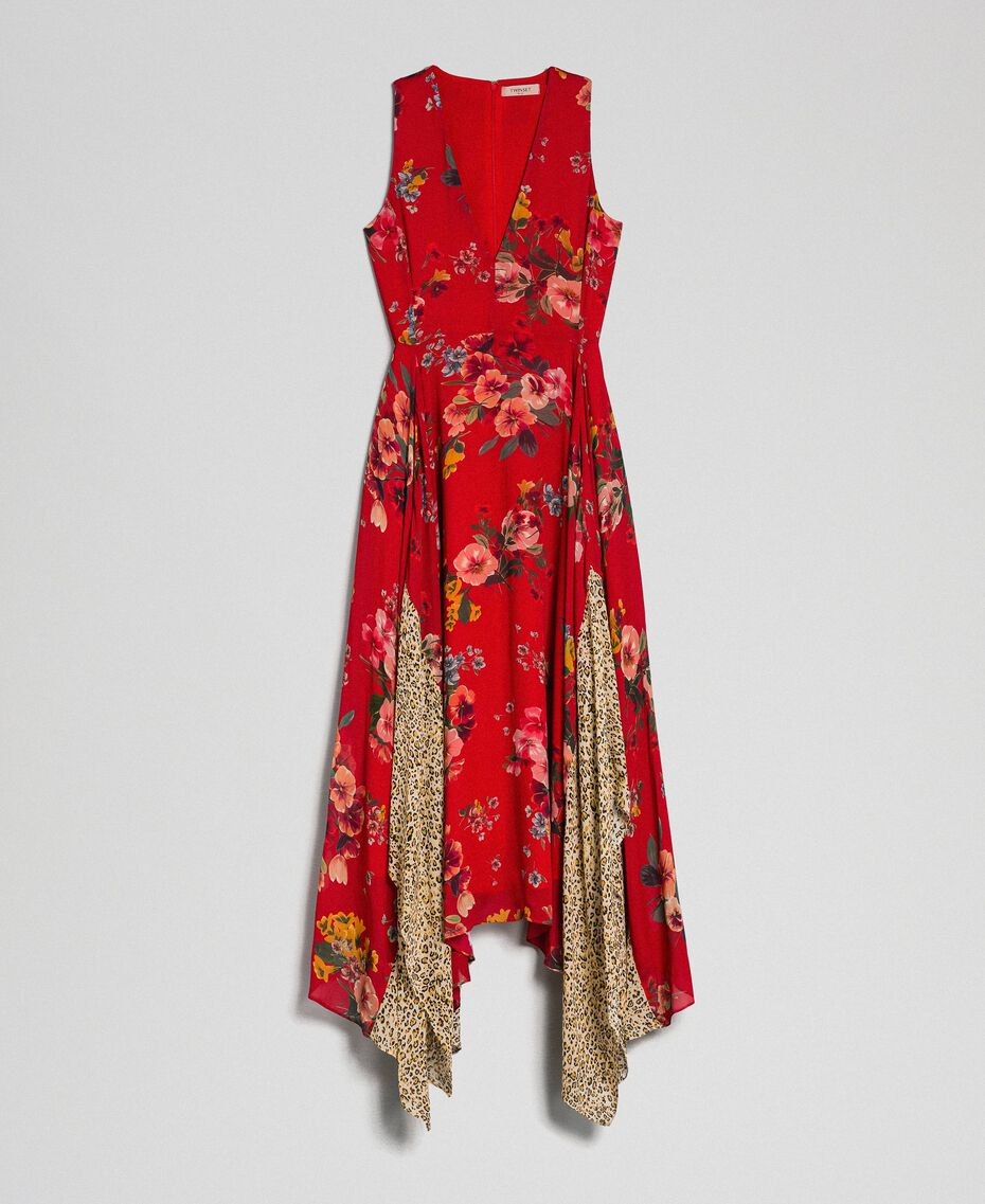 Kleid aus Georgette mit Blumen-Animal-Print Feldblumenprint Granatapfel Frau 192TP2750-0S